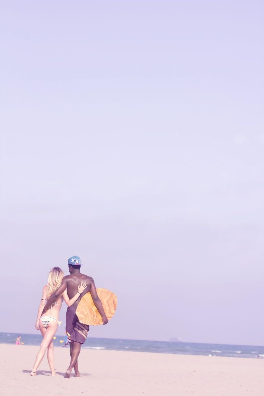 Fotografia de retrato en la playa blue